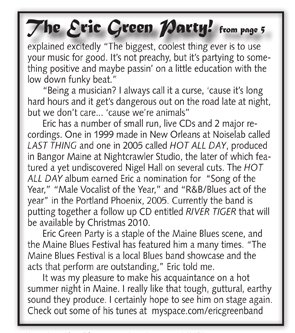 Eric Green Article in the Blues Audience newsletter