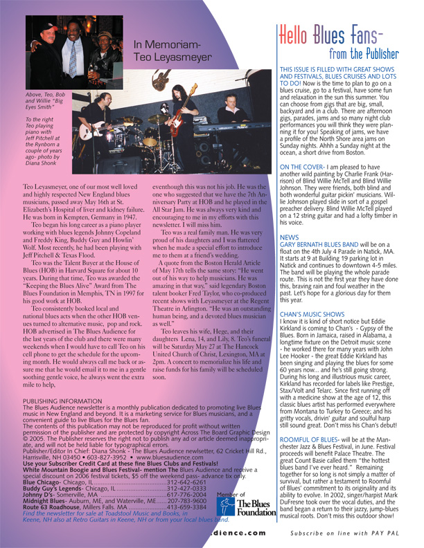 Teo memorial from the Blues Audience newsletter